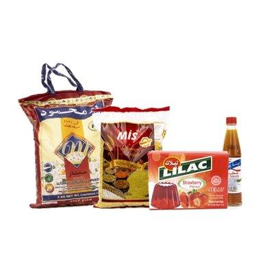 Rijst Mahmood 5kg + Mis Bulgur Fijn 1kg+ Lilac Jello Aardbei+Rana scherpe saus