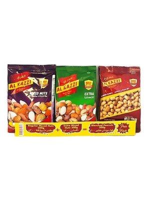 Al Kazzi Promotiepak Noten Extra & Gezouten Pinda's & Notenmix 3x300 Gram