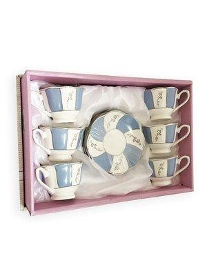 Arabische Koffiekopjes Blauw & Wit set 6 + 6
