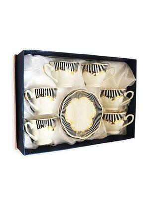Arabische Koffiekopjes Zwart, wit & Goud set 6 + 6