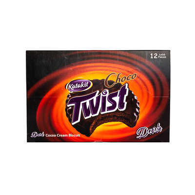 Katakit Dark Gecoate Twist Biscuits 12 Stuks