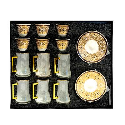 Luxe Arabische Koffie Kopjes met Schotels Set (2x6) & Thee Glazen (x6)
