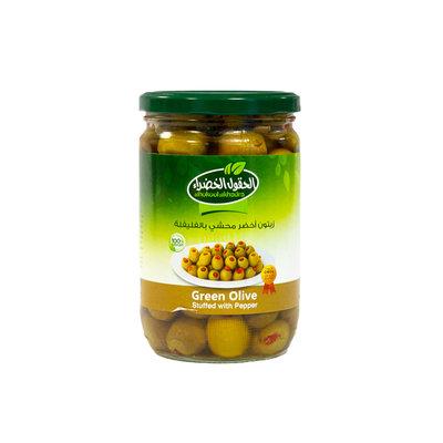 Al Hokool Al Khadra Groene Olijven Gevuld met Rode Paprika 600 Gram