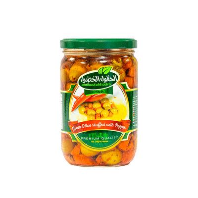 Al Hokool Al Khadra Groene Olijven met Paprika/Wortel/Peterselie 600 Gram