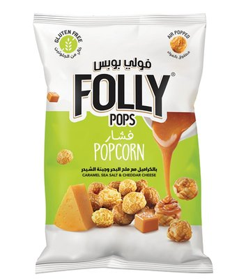 Folly Pops Popcorn Karamel Zeezout & Cheddar Kaas Mix 40 Gram