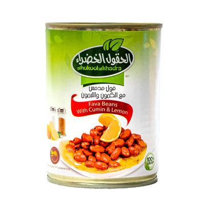 Al Hokool Al Khadra Gekookte Bonen (foul) gemixt met Komijn & Citroen 400 Gram