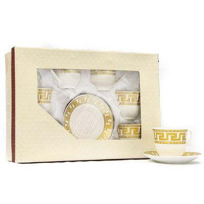 Zes Kleine Koffiekopjes met Zes Schotels Gouden Versace Ontwerp