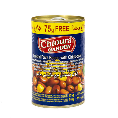 Chtoura Garden Gekookte Bonen met Kikkererwten 475 Gram (actie +75 Gram GRATIS)